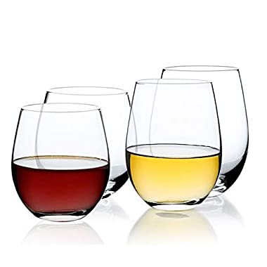 Sweese 4696 Spirits Stemless Wine Glasses Set of 4,15 and 18 Ounce, Great for White or Red Wine Mother's Day Wine Gifts Wines Glass
