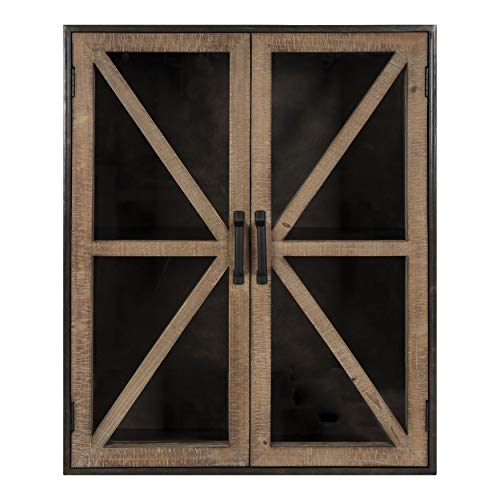 Kate and Laurel Mace Wood and Metal Wall Cabinet, 22 x 28 inches, Rustic Brown Wood Door with Bronze Metal Frame, Chic Modern Farmhouse Shelving for Storage and Display