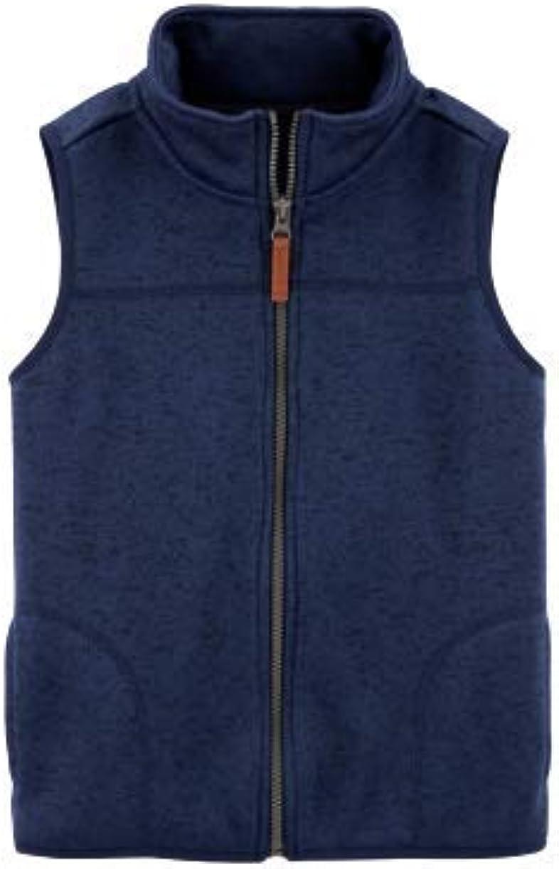 Little Boys or Girls Navy Blue Zip-Up Faux-Sherpa Vest Size 5