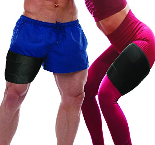 Thigh Compression Sleeve Hamstring Wraps - 2 Pack of Thigh Sleeves Adjustable Hamstring Compression Sleeves For Comfortable Leg Compression For Both Women or Men (Fits Most)
