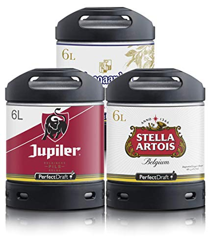 Perfect Draft Bier Multipack, 3x Perfect Draft 6L Fass | Fassbier, inkl 15 EUR MEHRWEG Pfand (Stella Artois, Hoegaarden, Jupiler)