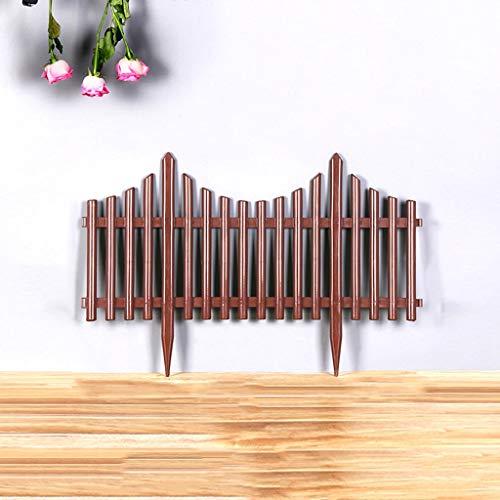 WXQIANG Garten Gartenzaun, Kunststoff Land Corner Packung mit 4 x, Rasen Border Bordüren, dekorativer Zaun Palisade, 80x40cm Brown