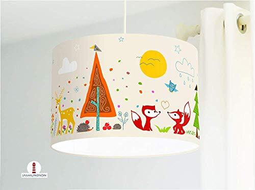 Lampe Kinderzimmer Waldtiere in Beige aus Baumwollstoff - alle Farben möglich