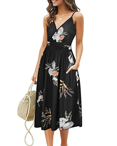 OUGES Women's Summer Spaghetti Strap V-Neck Floral Short Party Dress with Pockets(Floral03-452,L)