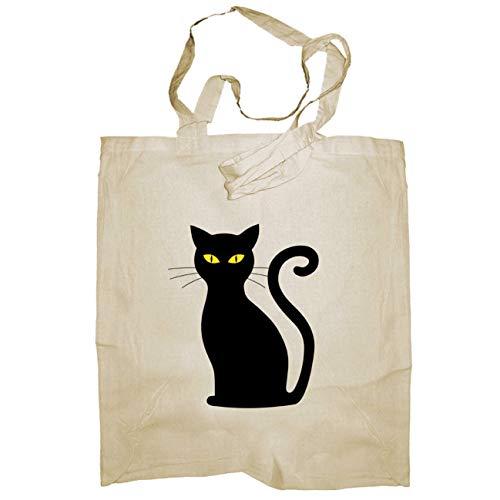 My Custom Style® Shopper aus Naturbaumwolle Farbe beige Modell Halloween - Katze Schwarz Lange Griffe 80 cm; Taschenformat 38 x 42 cm Die Tasche Wird mit Direktdruck vom digitalen Typ hergestellt.