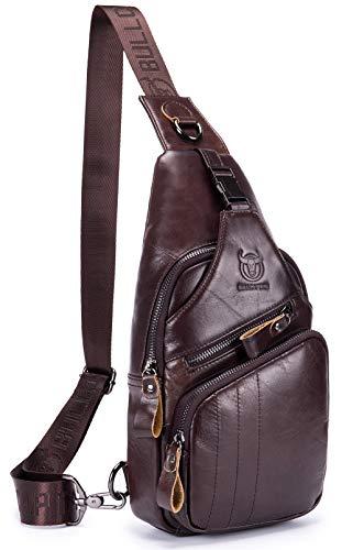 BULLCAPTAIN Leather Men Sling Bag Casual Crossbody Chest Bags Travel Daypack (Brown)