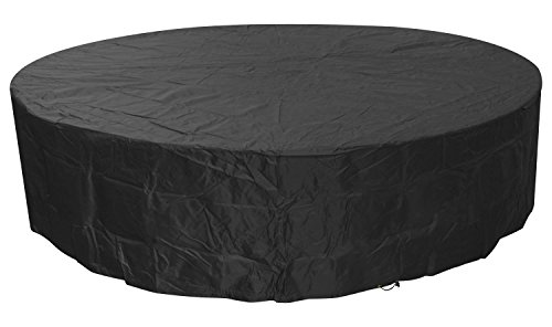 Woodside Black 8-10 Seater Round Waterproof Outdoor Garden Patio Furniture Set Cover Heavy Duty 600D Material 0.8m x 3.22m / 2.6ft x 10.5ft 5 YEAR GUARANTEE