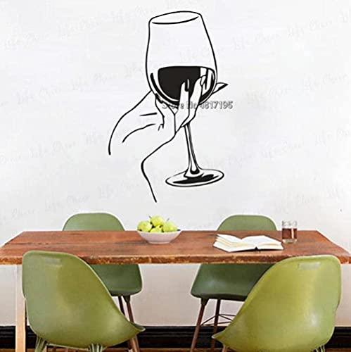 Etiqueta de la pared PVC Extraíble Etiqueta de la pared Copa de vino con barra hecha a mano Arte de la cocina Restaurante Decoración Amante de la bebida Cartel del hogar 26X42Cm