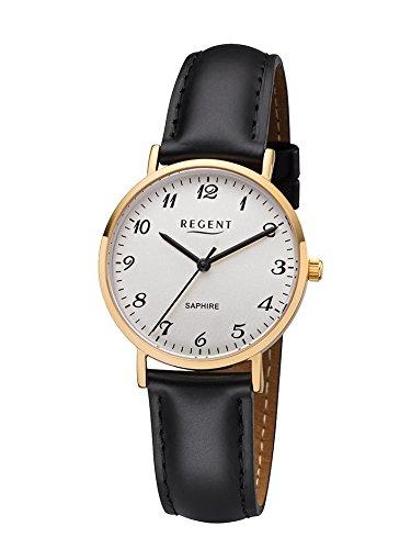 REGENT Damen Analog Quarz Uhr mit Leder Armband 12100672