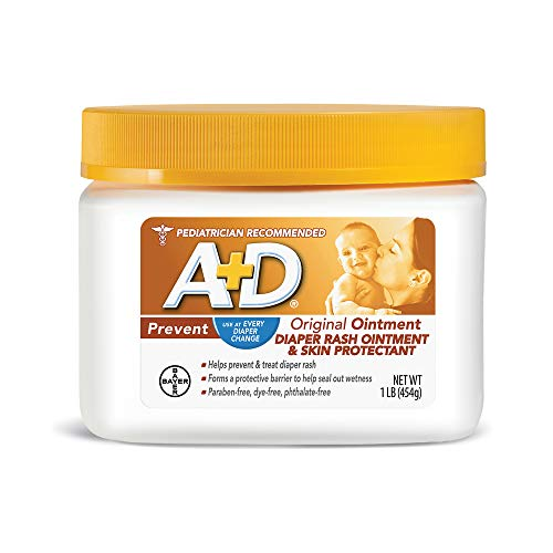 A+D Original Diaper Rash Ointment, Baby Diaper Rash Cream and Skin Protectant With Lanolin, 16 Ounce (Pack of 1)