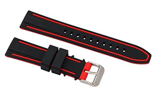 22mm antialérgico correa de reloj de pulsera de silicona deporte de dos tonos negro y rojo con cierre de hebilla de acero inoxidable