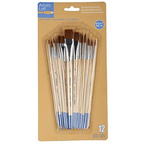 Artists Loft Necessities Brown Synthetic Flat & Round Brushes
