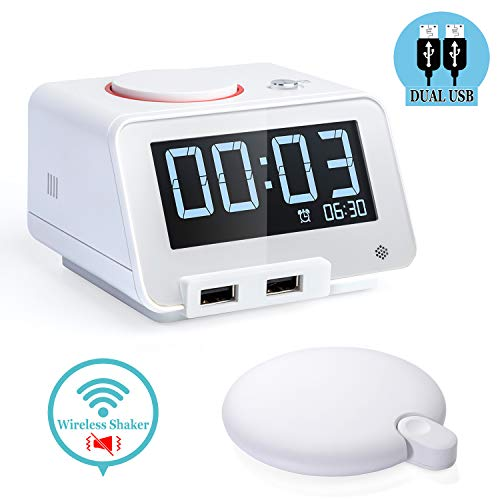 Homtime Alarm Clocks with Wireless Shaker: 3 Level Intense Vibrating Shaker for Heavy Sleepers/Deaf/Hearing Disorder - Digital Alarm Clocks with Speaker & Dual Charging Ports (White)
