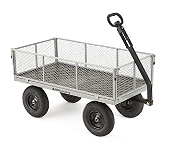 Gorilla Carts GOR1001-COM Heavy-Duty Steel Utility Cart with Removable Sides 1000-lbs Capacity Gray