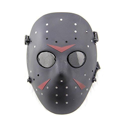 Worldshopping4U Nueva Cara Completa protección máscara al Aire Libre Jason Metal de Malla para Tactical Paintball Black