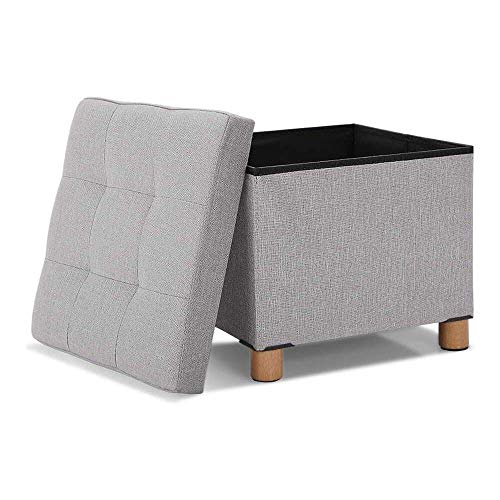 YuKeShop Small Space Storage Ottoman Footrest Seat Chair with Wooden Legs and Coffee Table Tray, Foldable Cube Storage Organizer Sofa Stool for Living Room Bedroom, Weight Support 615 lbs