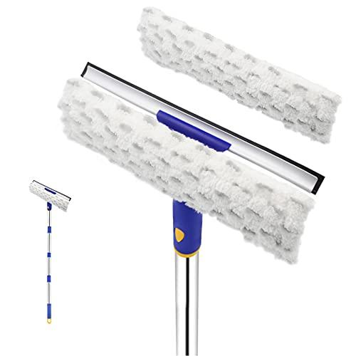 ITTAHO Limpiador giratorio para ventanas, 2 en 1, limpiador de ventanas con limpiacristales y limpiador de microfibra para ventanas altas, parabrisas de coche