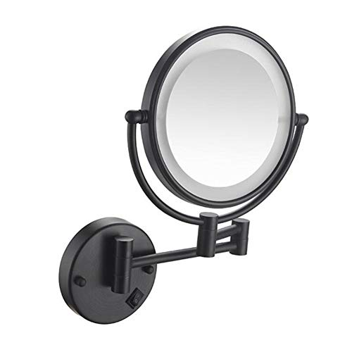 WBFN Bad Spiegels, make-up spiegels zwart schilderen LED Wall Mount Uitbreiding Folding Double Side LED Light Spiegel 3 x 5x 10x vergroting Bath Mirror (Color : 3X)