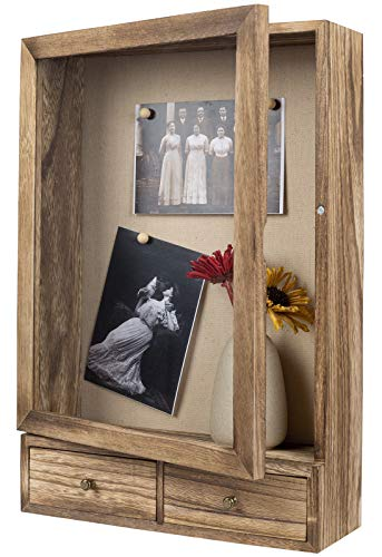 BONKON Shadow Box Frame 11x14 Shadow Box Display Case with 2 Drawers and Linen Back for Memorabilia,...