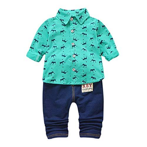 JERFER Kinder Outfit Set Kleinkind Langarm Crown Pattern Shirt Tops + Jeans Set