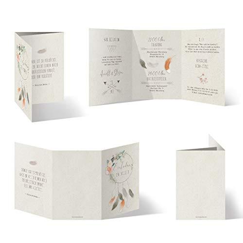 Bruiloftuitnodigingen individueel wikkelzout vouwkaarten DIN A6 148x105 mm - Boho bruiloft