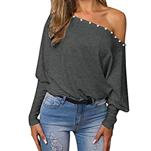 Goddesslili Womens Tops, Off Shoulder Pullover Loose Batwing Long Sleeve Jumper for Girls Ladies Casual Office Wear, 2019 New Back to School Supplies, Black and Grey
