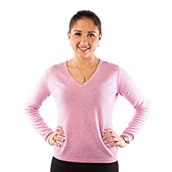 Model: A04370_MARL LILAC DUNEDIN CASHMERE Women's Cashmere V-neck Jumper.åÊ This beautifully crafted plain jumper made from 100% pure cashmere will be a great addition to your wardrobe. Details include a classic and simple design, a v-neck, long slee...