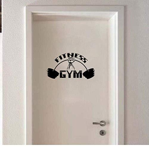 Türaufkleber Fitness Gym Sport Bodybuilding Langhantel Muskulöse Wandaufkleber Bedroon Dekor Tür Aufkleber 23 * 13Cm