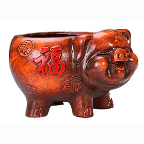 Verzamelobjecten Sculpturen Varken Porselein Piggy Standbeeld Bloempot Decoratieve Keramiek Home Tafelblad Planter Voor Bonsai Craft Ornament Potten Vlezige