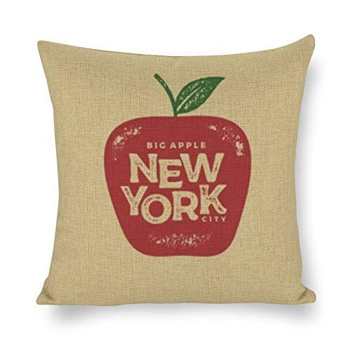 BONRI Funda de cojín de algodón y Lino, diseño de la Ciudad de Nueva York (18'× 18') Fundas de Almohada Creativas con Cremallera