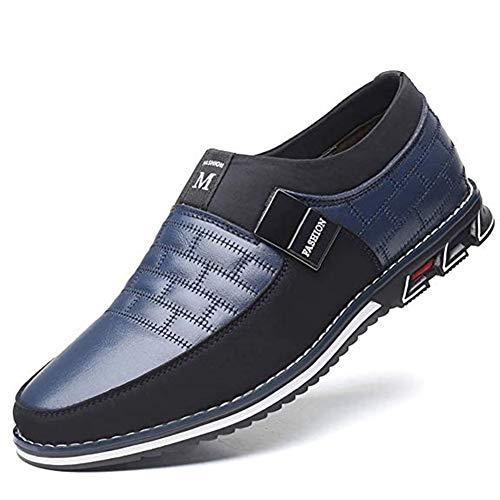 Cuero de Tobillo Conducción para Hombre Mocasín Clásico Barco Zapatos Oficina Negocios sin Cordones Casuales Ligeros para al Aire Libre 42 EU Azul,26 CM del talón a la Punta