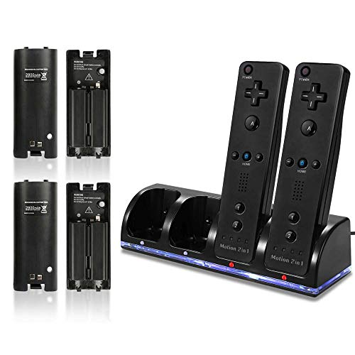 Wii Remote Battery Charger, 4 in 1 Wii Remote Charging Dock Station with 4...