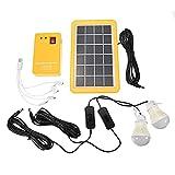 SISHUINIANHUA Cargador Solar de Panel Solar de 50W USB con 2 Bombillas LED Kit de generador del Sistema de Inicio de la luz Interior de la luz al Aire Libre sobre la Descarga Protección