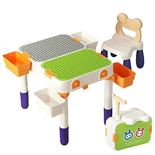 6-in-1 Multifunctional Children Building Table, Variable Scooter Can be Used to Store Toys Storage Table Writing Game Eating Activity Table