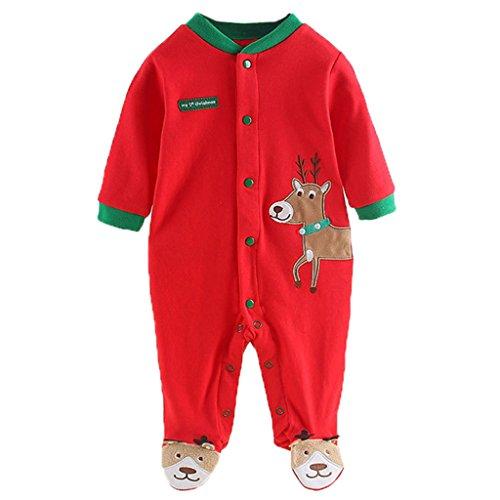 Vine Infant Natale Costume Pagliaccetto Babbo Natale manica lunga cervo del pagliaccetto del