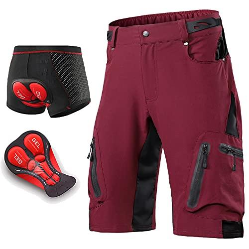 Culotte Corto Ciclismo Hombre, Pantalones Cortos de Montaña con Bolsillos con Cremallera Pantalones Cortos al Aire Libre con 4D Gel Acolchado Pantalones para Verano,Dark Red,S