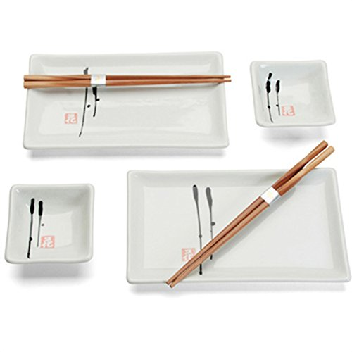 Happy Sales HSSS-EZ64B, 6 pc Japanese Dinnerware Sushi Plate set Enzo Design