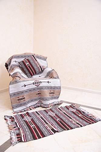 SOLTAKO Kelim Teppich mit Fransen, waschbar, beidseitig verwendbar, Mehrfarbig, 100% vegan, Vintage, bunter Läufer, orientalischer Berber Chindi Teppich, Ethno Muster, braun/beige, 70 x 140 cm