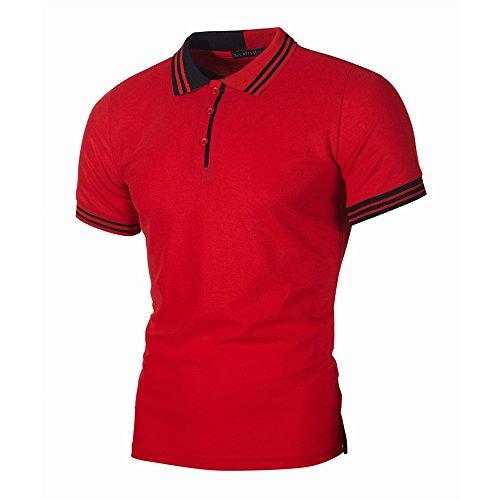 Yowablo Polo Homme Manche Courte Marque T-Shirt Top Blouse Hommes Casual Slim Manches Courtes Patchwork Personnalité De La Mode (S,7Rouge)