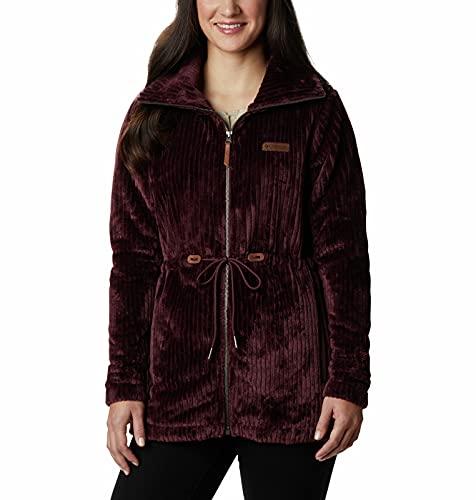 Columbia Women's Fire Side Faux Sherpa Long Full Zip, Malbec Stripe, Medium