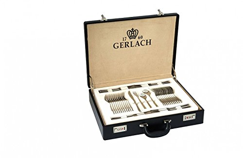 Gerlach Besteck-Set Glänzend Flames, Edelstahl, Silber, 52 x 42 x 10 cm, 68-Einheiten