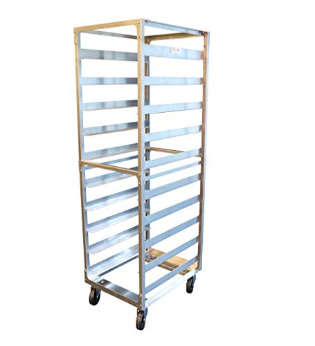 SHOPCraft 10 Pan 6' Spacing Commercial Grade Aluminium Bun Racks, Heavy Duty Sheet Baking Pan Rack For Bakery, Restaurant & Catering, 10 Tier 20.5' x 26' x 70' Rack With Heavy Duty Plate Casters And Non-Marking Polyolefin Wheels