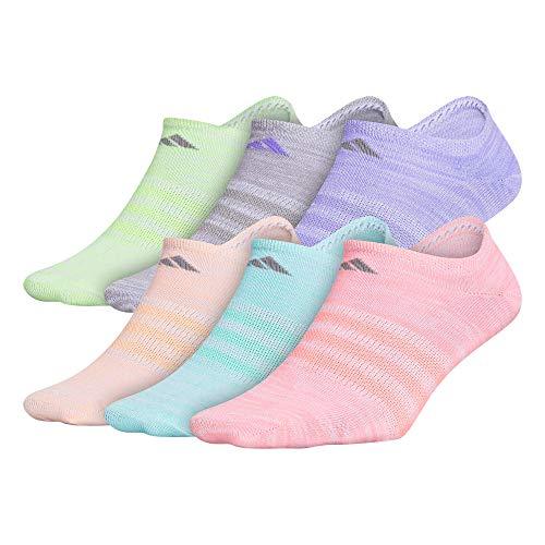 adidas Kids-Girl's Superlite No Show Socks (6-Pair), Easy Green/ Light Flash Orange/ Light Flash Purple/ L, Medium