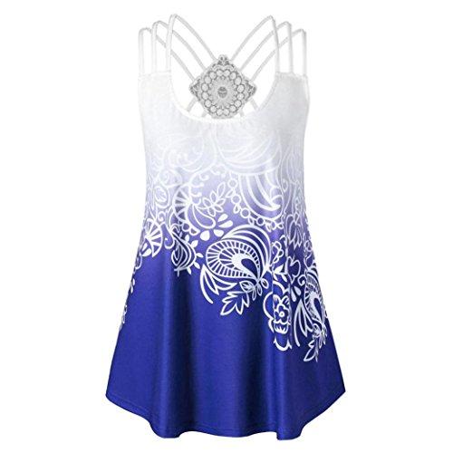 ESAILQ Damen Sommer Kurzarm T-Shirt V-Ausschnitt mit Schnürung Vorne Oberteil Tops Bluse Shirt(S,Blau)