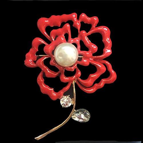 Olydmsky Broches para Ropa Mujer Esmalte Rojo Retro Gota Aceite cártamo Perla Brillante Recorte Delicado Broche Broche