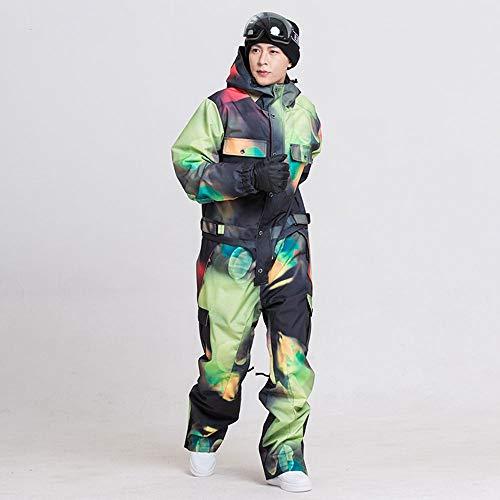 JJZZ Skibekleidung für Herren Blaue Magie WasserdichtSnowboard EinteilerSkisprungHerren Snowboard30 Grad Schnee Skianzug Winterkleidung Overall, XL