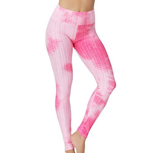 YUPENG Leggings Donna Slim Fit Vita Alta Pantaloni Yoga Palestra a Nido d'Ape Tintura Leggings Push-up Controllo Pancia e Sollevamento dei Glutei Calzamaglia Elasticizzata Pantaloni da Allenamento L