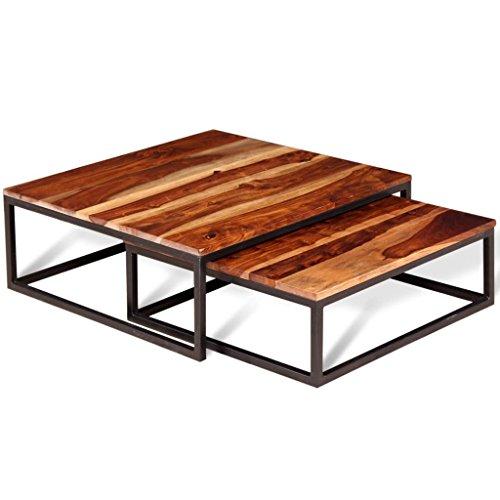Ensemble de Table Basse gigogne 2 pcs en Bois massif de Sesham Dimensions de la table la plus grande 70 x 70 x 26 cm (L x I x H) table basse design convient votre salon, chambre à coucher