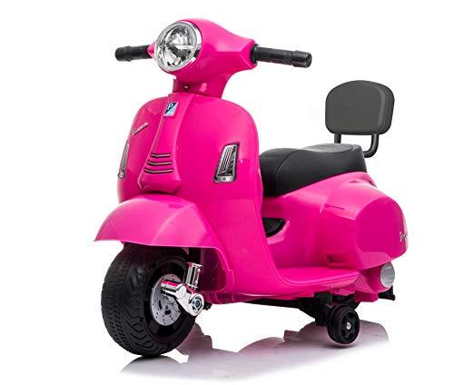 Mondial Toys Moto ELETTRICA per Bambini Mini Vespa GTS Piaggio 6V con Schienale Sedile in Pelle LUCI Suoni Pink