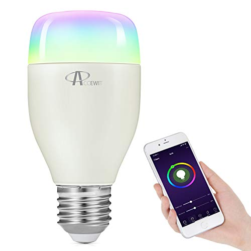 ACCEWIT Lampadina Wi-Fi Smart Bulb Dimmerabile LED Light Lampadina, 20000 ore di vita 16 milioni 7W W6500K+RGB Smart Device e controllo vocale di Amazon Alexa e Google Home Nessun hub richiesto-1 pack